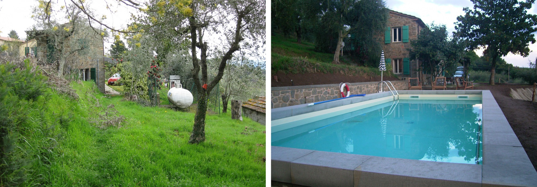 Um eine Fläche für den 4 x 8 Meter großen Pool zu schaffen, musste der Flüssig-Gastank, sowie zwei Olivenbäume versetzt werden