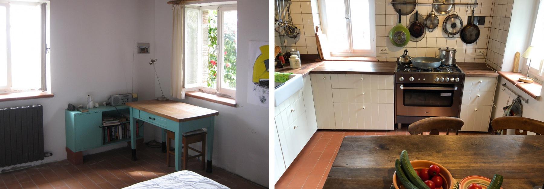 Das Jugendzimmer der Vorbesitzer wurde von uns in eine Küche verwandelt. Die bäuerlichen Vorfahren rösteten hier Ess-Kastanien.